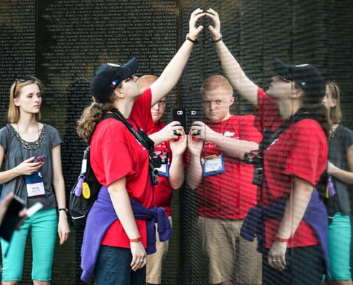 "The ""Vietnam Wall"" is one of many emotional monuments visited during youth tour."