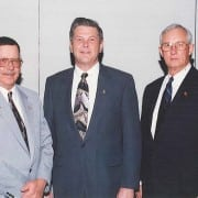 Fred A Lackey, NRECA Secretary-Treasurer; James O. Baker, NRECA President; James M. Andrew, NRECA Vice President are seen in this file photo from 1997. (Photo By: NRECA)