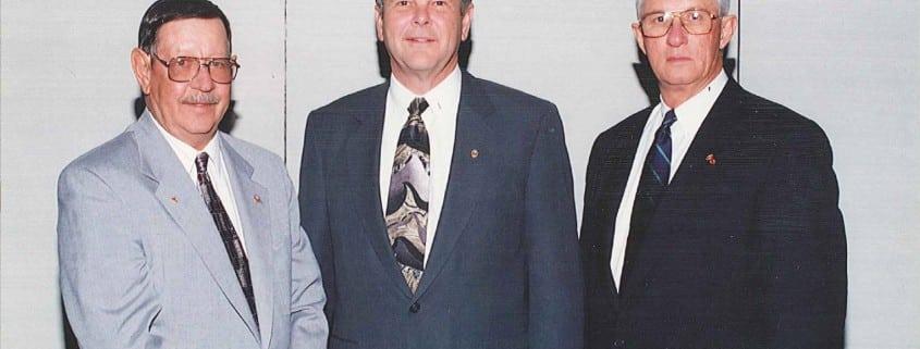 Fred A Lackey, NRECA Secretary-Treasurer; James O. Baker, NRECA President; James M. Andrew, NRECA Vice President are seen in this file photo from 1997. (Photo By: NRECA)
